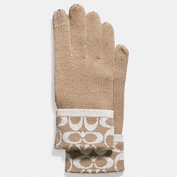 Authentic COACH metallic signature jacquard gloves
